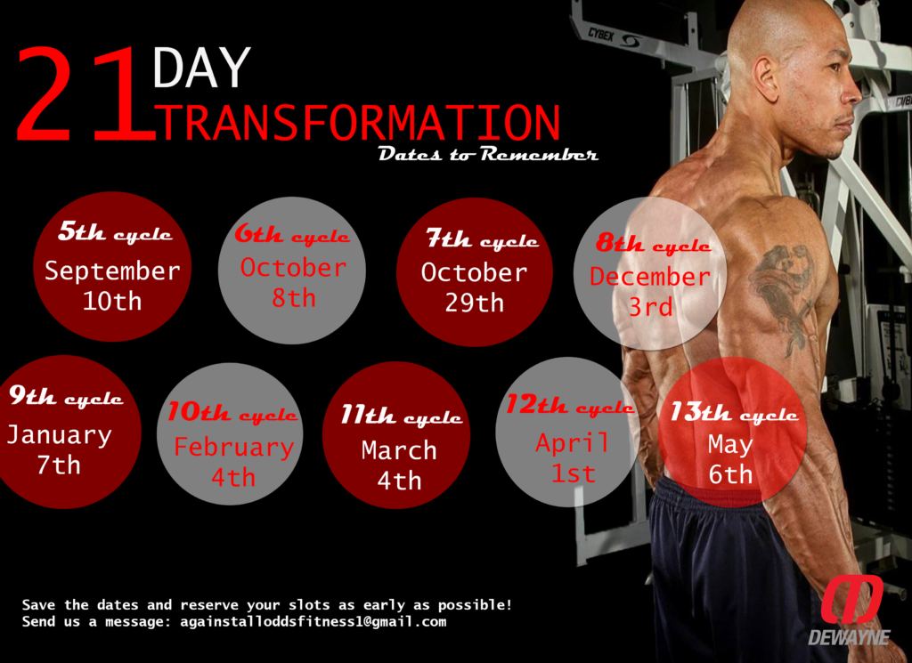 21-Day Transformation Dates - Dewayne Malone